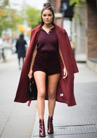 How to wear: burgundy coat, dark purple polo, burgundy velvet shorts, burgundy leather ankle boots