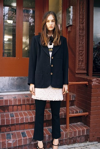 How to wear: black coat, white lace sheath dress, black dress pants, black leather heeled sandals