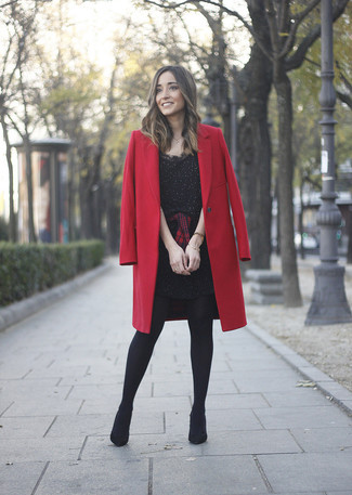 How to wear: red coat, black embellished sheath dress, red and black plaid dress shirt, black suede ankle boots