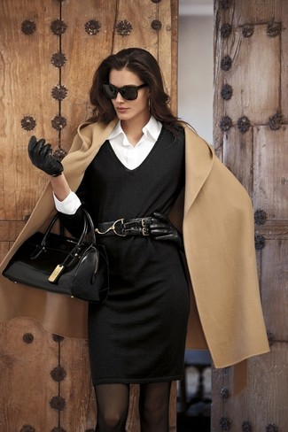 Ruched Long Leather Gloves