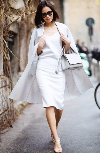 How to wear: grey coat, white sheath dress, beige leather heeled sandals, white leather crossbody bag