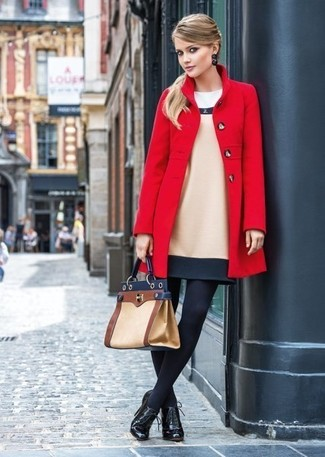 How to wear: red coat, beige wool sheath dress, black leather lace-up ankle boots, tan leather satchel bag