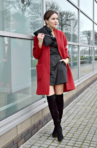 How to wear: red coat, black satin sheath dress, black suede over the knee boots, black satin clutch