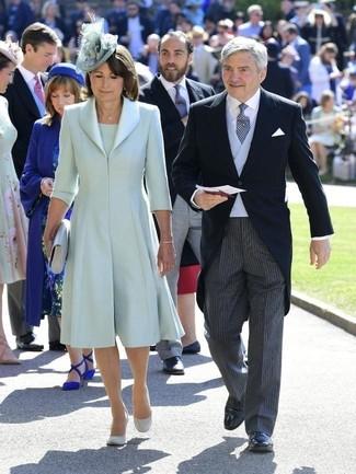 How to wear: mint silk coat, mint sheath dress, grey suede pumps, grey leather clutch