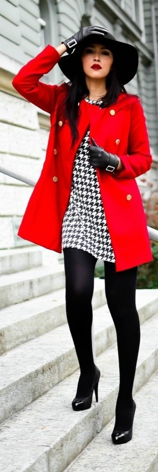 A red coat and a white and black houndstooth sheath dress are appropriate for both smart casual events and day-to-day wear. Finish off your look with black leather pumps.