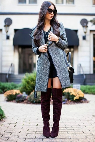 Women's Grey Tweed Coat, Black Shift Dress, Burgundy Suede Over ...