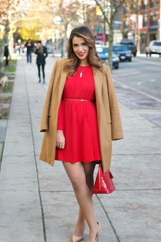 How to wear: camel coat, red shift dress, tan leather pumps, red leather satchel bag