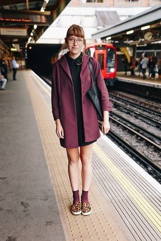 How to wear: burgundy coat, black shirtdress, brown leopard slip-on sneakers, black leather tote bag