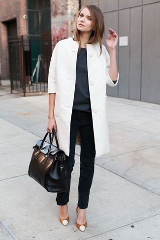 Women's White Coat, Charcoal Short Sleeve Blouse, Black Jeans, Tobacco Leather Pumps