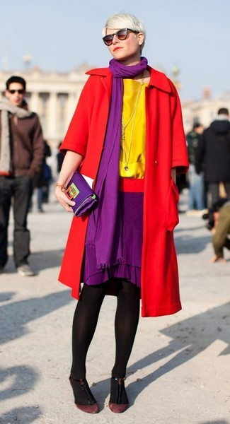 How to wear: red coat, yellow short sleeve blouse, purple pencil skirt, burgundy suede pumps
