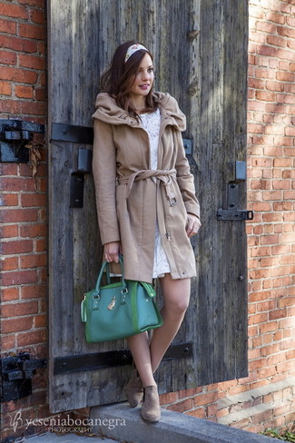 46975bf2bd5c2 How to wear: camel coat, white lace skater dress, brown suede chelsea boots