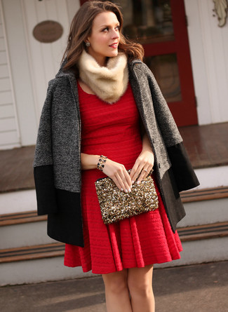 How to wear: charcoal coat, red skater dress, gold sequin clutch, beige fur scarf