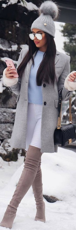 How to wear: grey coat, white skinny jeans, beige suede over the knee boots, black quilted leather crossbody bag