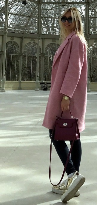 Purple Leather Crossbody Bag Outfits: This is indisputable proof that a pink coat and a purple leather crossbody bag are amazing when paired together in a casual look. Go off the beaten track and switch up your outfit with a pair of gold leather platform loafers.
