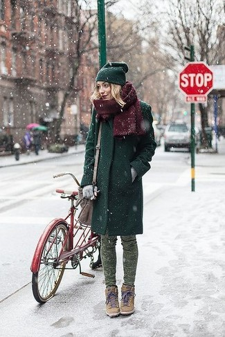 Get into glamour mode in a dark green coat and a dark green beanie. For a more relaxed take, choose a pair of tan suede wedge sneakers. Nothing like a kick-ass combo to brighten up a dull fall day.