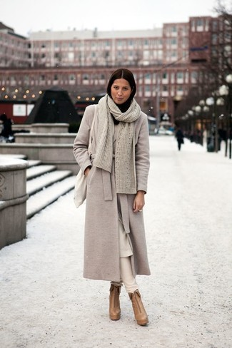 How to wear: beige coat, beige skinny pants, tan leather ankle boots, beige canvas tote bag