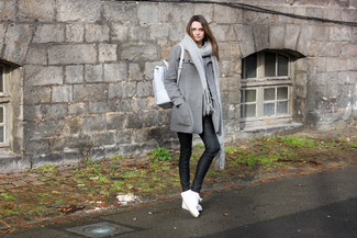 How to wear: grey coat, black leather skinny pants, white low top sneakers, white leather backpack
