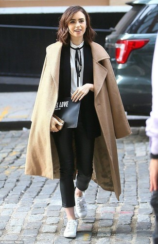 How to wear: camel coat, black sleeveless blazer, white and black long sleeve blouse, black leather skinny pants
