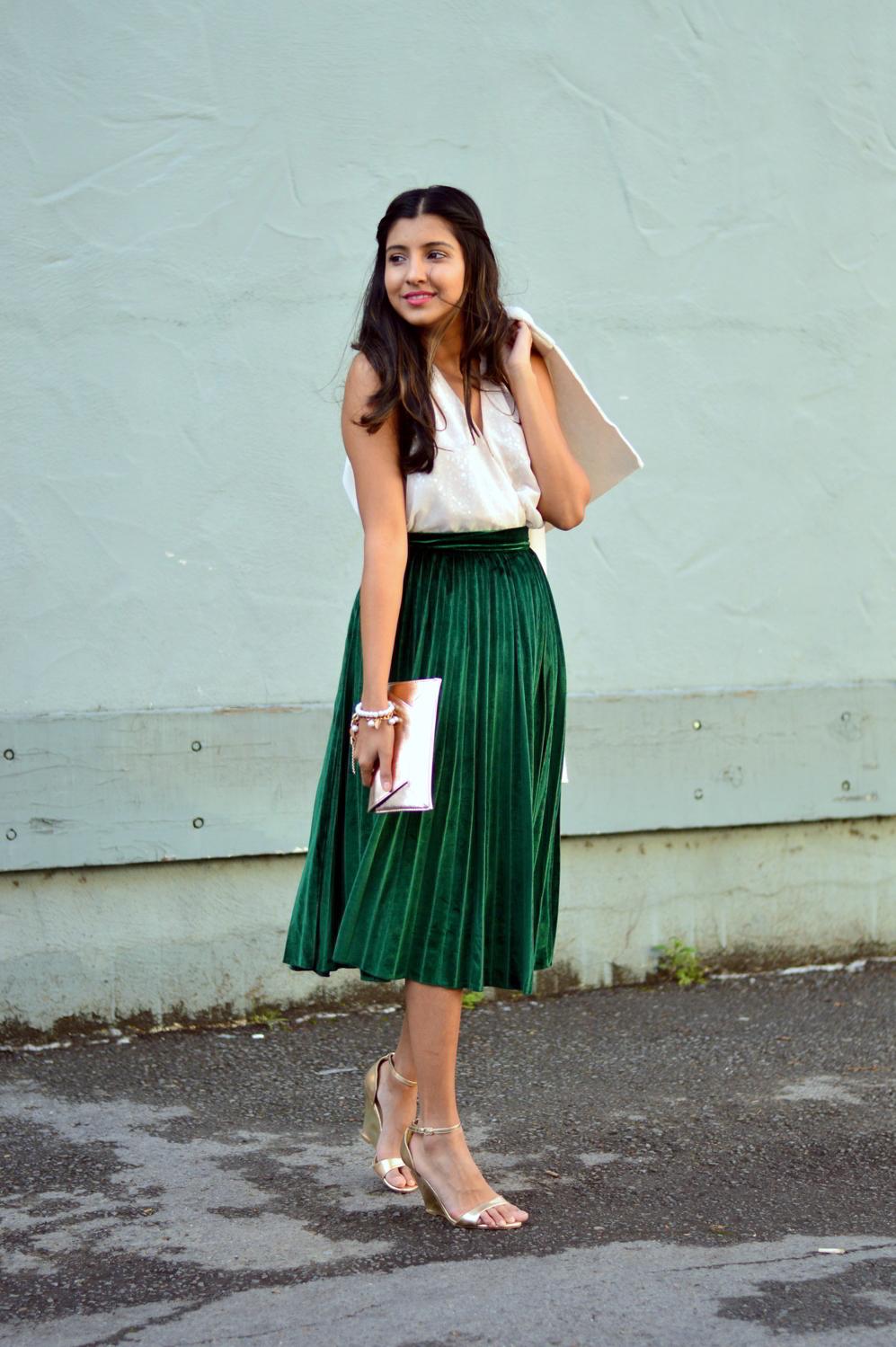 a580df8c50 How to wear: white coat, white sleeveless top, dark green pleated midi skirt