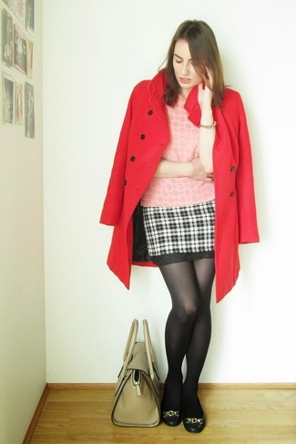 Black Wool Tights with Black and White Plaid Mini Skirt Outfits: This combo of a red coat and a black and white plaid mini skirt delivers comfort and relaxed cool. And if you wish to instantly dial down this outfit with shoes, add black leather ballerina shoes to the mix.