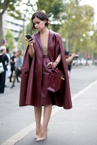 Tan Sleeveless Top Outfits: If you're on the hunt for an off-duty but also stylish ensemble, consider teaming a tan sleeveless top with a burgundy leather pencil skirt. For something more on the smart end to finish this look, complement this ensemble with a pair of beige leather pumps.