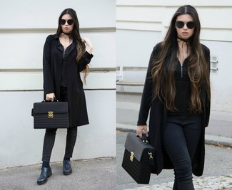 Women's Black Coat, Black Sleeveless Top, Black Skinny Jeans, Navy Leather Oxford Shoes
