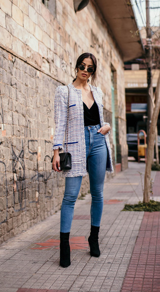 How to wear: light blue tweed coat, black velvet sleeveless top, blue skinny jeans, black suede ankle boots