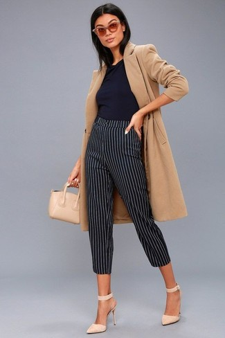 How to wear: camel coat, black sleeveless top, black and white vertical striped skinny pants, beige suede pumps