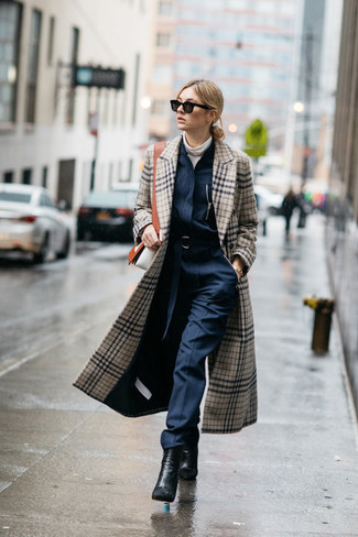 Plaid Wool Blend Coat With Faux