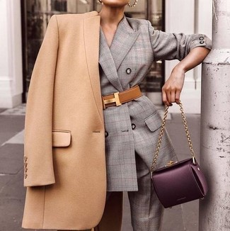 How to wear: camel coat, grey plaid suit, dark purple leather satchel bag, tan leather waist belt