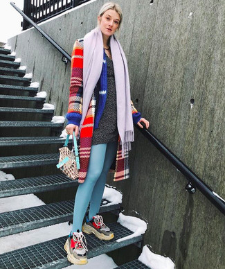 How to wear: red plaid coat, charcoal sweater dress, multi colored athletic shoes, light violet scarf