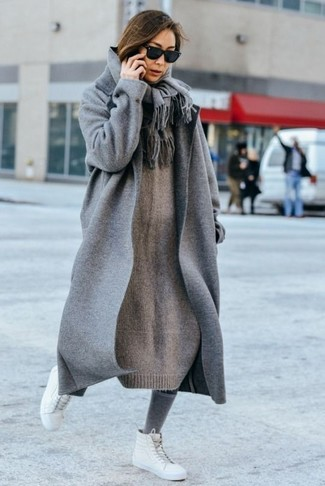 How to wear: grey coat, grey knit sweater dress, white leather high top sneakers, grey scarf