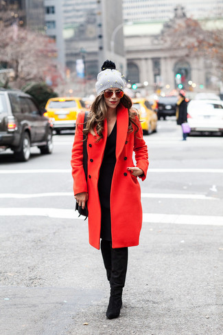 How to wear: red coat, black sweater dress, black suede knee high boots, black leather crossbody bag