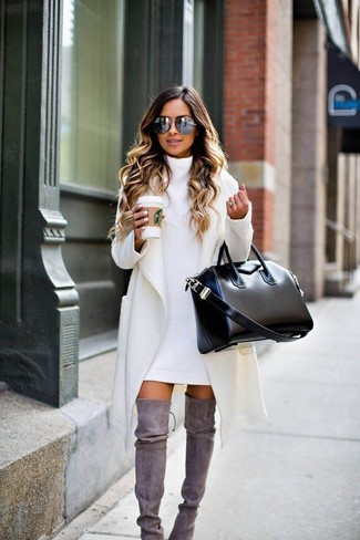 How to wear: white coat, white sweater dress, grey suede over the knee boots, black leather tote bag
