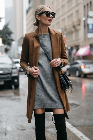 How to wear: brown coat, grey sweater dress, black suede over the knee boots, black leather crossbody bag