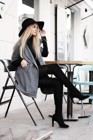 Black Wool Hat Outfits For Women: Teaming a grey coat with a black wool hat is a savvy choice for a laid-back yet totaly stylish ensemble. Black suede over the knee boots will add a glamorous twist to an otherwise everyday ensemble.