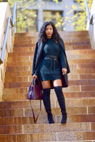 How to wear: navy coat, navy sweater dress, black suede over the knee boots, burgundy leather tote bag