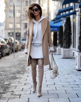 How to wear: camel coat, grey sweater dress, beige suede over the knee boots, white quilted leather satchel bag