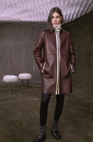 How to wear: dark brown leather coat, white sweater dress, black leather tassel loafers, charcoal wool socks