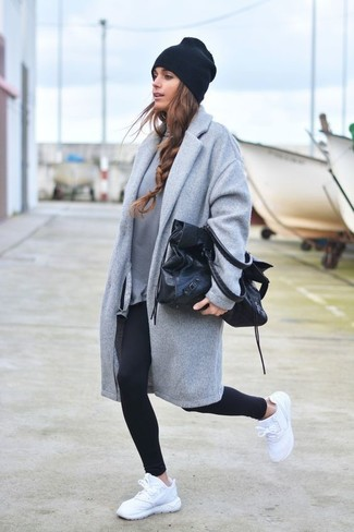 How to wear: grey coat, grey sweatshirt, black leggings, white athletic shoes