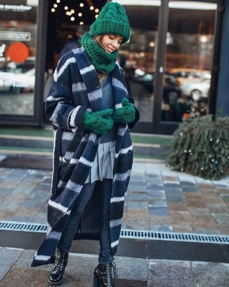 Marry a navy and white horizontal striped coat with navy skinny pants to bring out the stylish in you. With shoes, choose a pair of Fendi women's Leather Lace Up Ankle Boots. On not-so-chilly afternoons, you can work this transitional getup and look absolutely awesome.