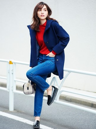 How to wear: navy coat, red sweatshirt, blue skinny jeans, black leather platform loafers