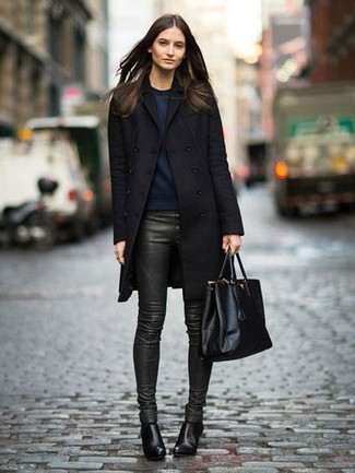 How to wear: black coat, navy sweatshirt, dark green leather skinny pants, black leather ankle boots