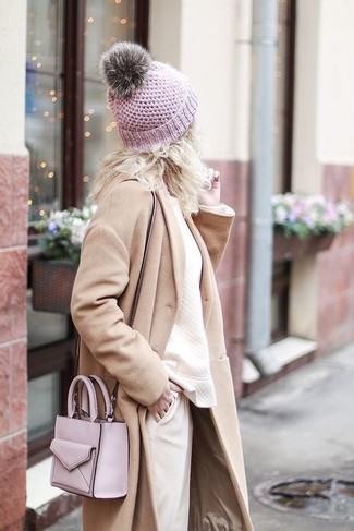 How to wear: beige coat, beige sweatshirt, beige tapered pants, pink leather crossbody bag