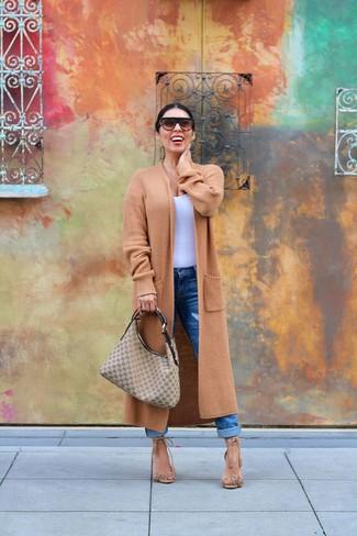 How to wear: camel knit coat, white tank, blue boyfriend jeans, tan fringe suede heeled sandals