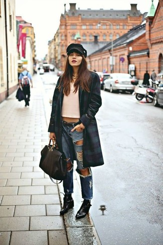 How to wear: navy and green coat, pink tank, blue ripped boyfriend jeans, black leather lace-up ankle boots
