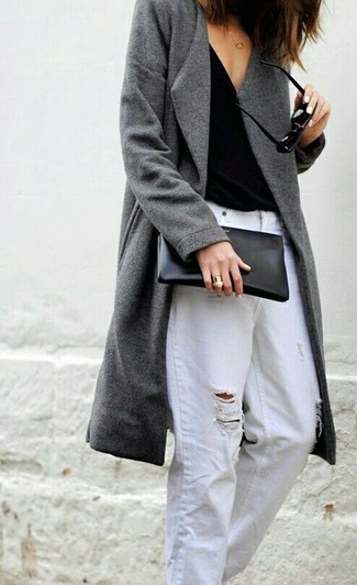 How to wear: grey coat, black tank, white ripped boyfriend jeans, black leather clutch