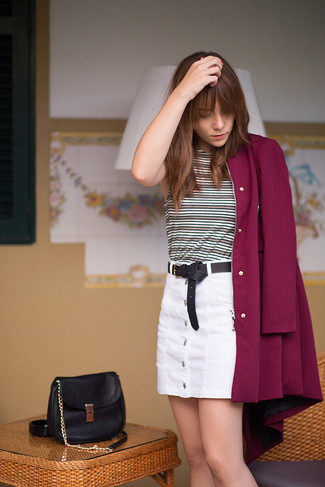 If you feel more confident in comfy clothes, you'll love this chic pairing of a burgundy coat and a white button skirt. This outfit is our idea of perfection for those warm springtime days.