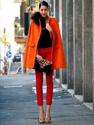 Women's Orange Coat, Black Tank, Tan Leopard Suede Clutch, Red Skinny Jeans, and Tan Leopard Leather Pumps