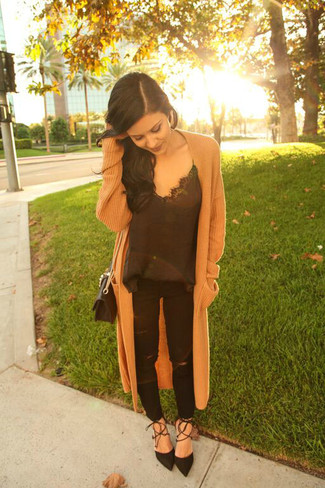 How to wear: camel knit coat, black silk tank, black ripped jeans, black suede pumps